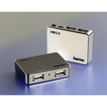 Mini USB 2.0 Hub 1:4, bus-powered, anthracite chrome
