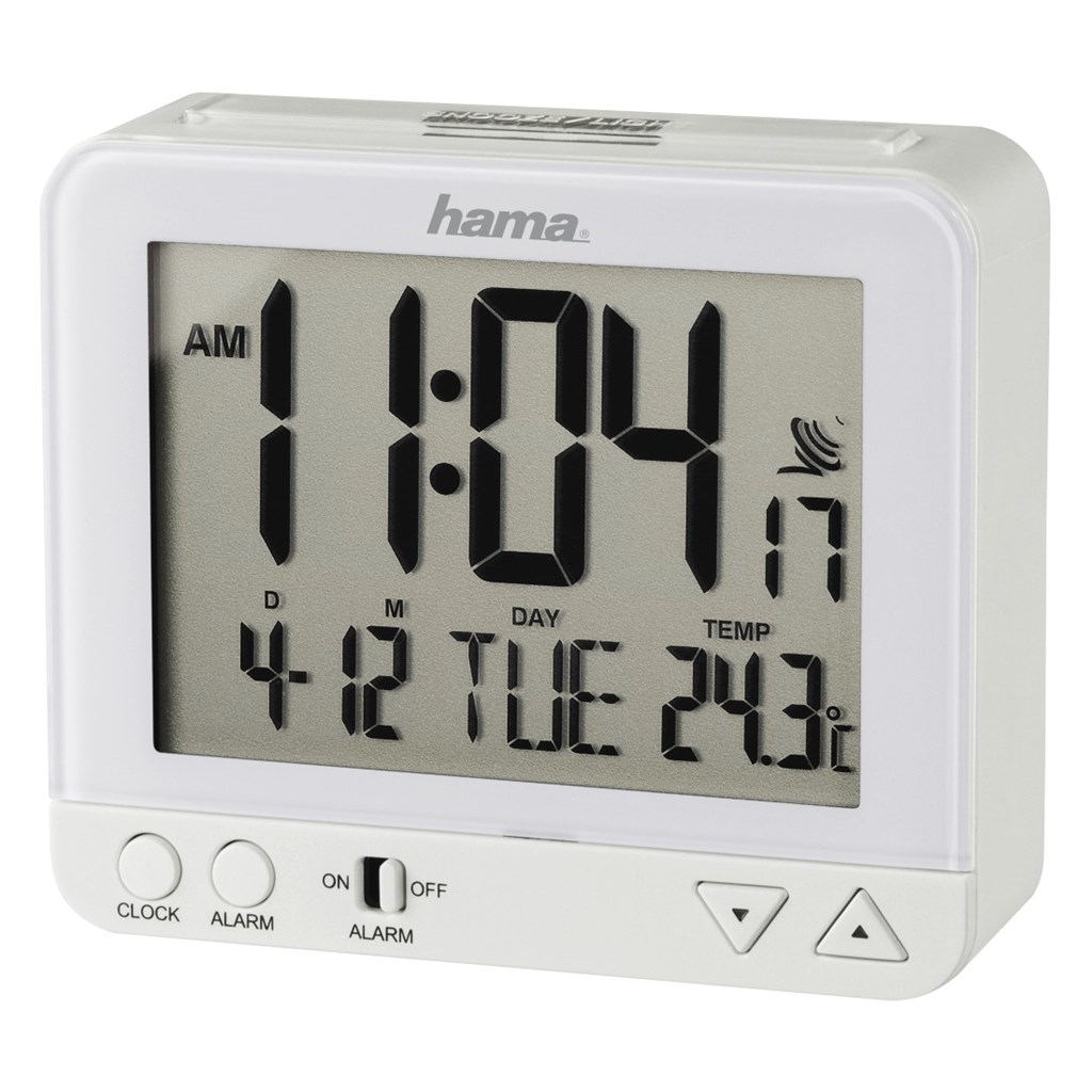 Hama RC 550 Radio Controlled Alarm Clock, with night light function, white