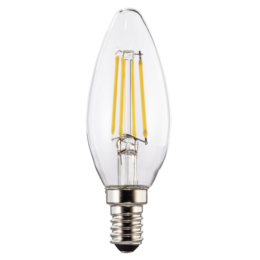 Xavax LED Filament, E14, 470 lm Replaces 40W, Candle Bulb, warm white