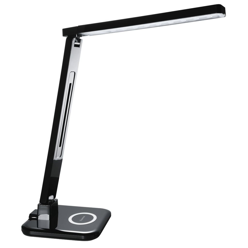 Hama SL 65 LED Desk Lamp, Qi charger multi-colour timer, black