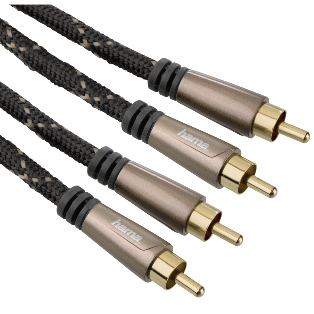 Hama audio Cable, 2 RCA plugs - 2 RCA plugs, metal, gold-plated, 1.5 m