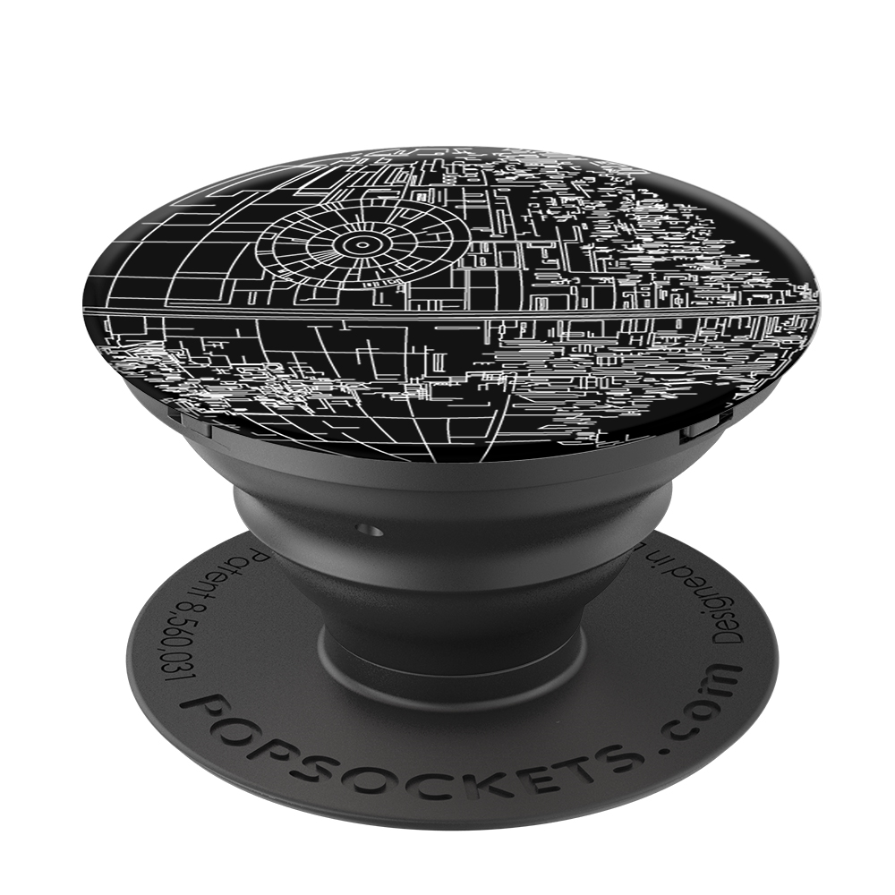 PopSockets 43113300  Original PopGrip, STAR WARS Aluminum Death Star, hliníkový