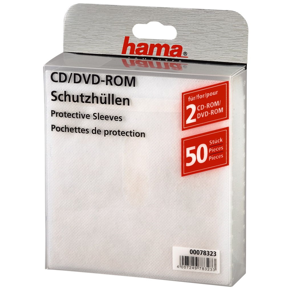 CD- DVD-ROM Protective Sleeves 50, white