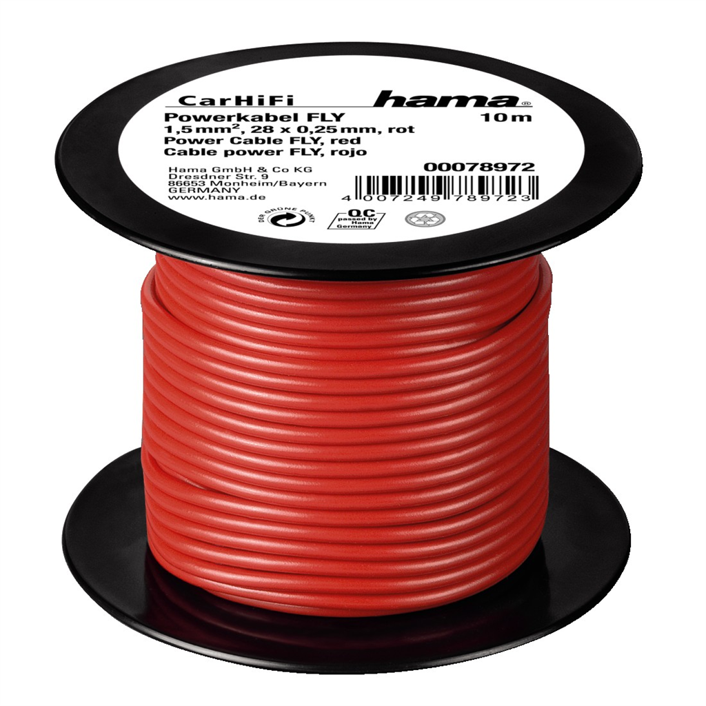 HAMA 78972  power Cable FLY 1,5 mm˛, Red, 10 m on plastic reel